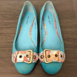 🔴 Nine West Azurel Turquoise Buckle Flats - 8.5